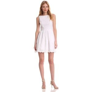 Lily Pulitzer Sandrine White Eyelet Dress w Pearls